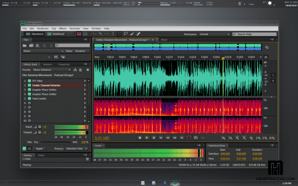 Interfaz Adobe Audition Portable CS6